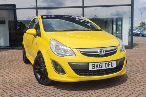Yellow Vauxhall Corsa Limited Edition 2011